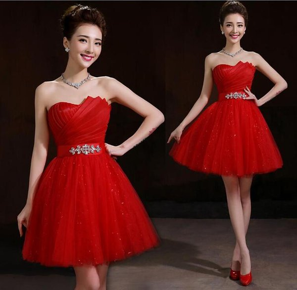 New Tulle Sweetheart Ball Gown Bridesmaid Dress With Crystal 2016 Red Fashion Party Dress Short