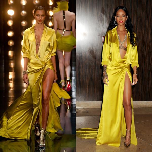 Rihanna Grammy Sexy Evening Dresses Yellow Silk Red Carpet Celebrity Dress Evening Gown Plunging Neckline Party Dresses High Thigh Slit