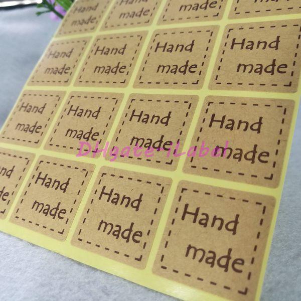 "best selling 300pcs Handmade Sticker 25*25mm 1"" Brown Vintage Stickers Kraft Label Sticker DIY Hand Made For Gift Cake Baking Sealing Sticker"