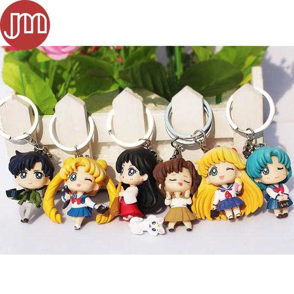 New 6pcs JP Anime Sailor Moon Figures Keychain Toys Tsukino Usagi Sailor Mars Jupiter Venus Mercury Tuxedo Keyring Pendants Gift