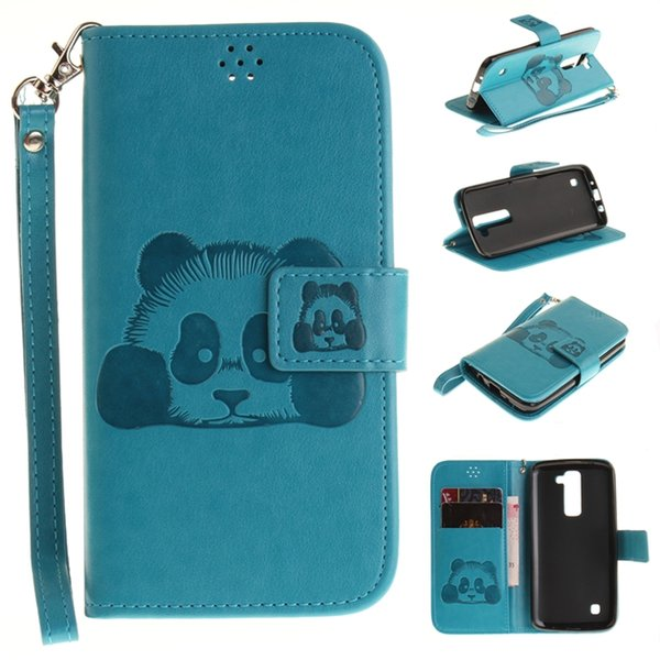 Panda Strap Wallet Leather Pouch Case For LG G4 K7 M1 K10 M2 K8 Samsung Galaxy Grand Prime G530 Cute Cartoon ID Card Stand TPU Cover Fashion