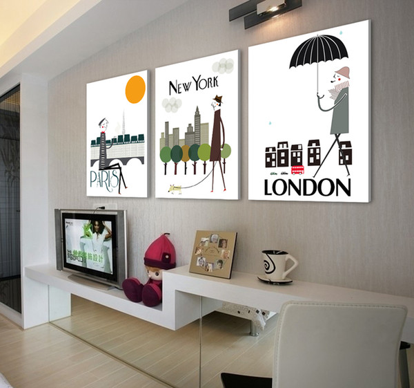 Free shipping 3 Pieces unframed Home decoration Canvas Prints Cartoon playful people London tree Forest path rose tea Abstract art painting