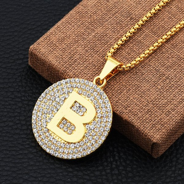 2018 Fashion Hiphop Letters Pendant Necklace Men Gold Plated Cubic Zirconia Jewelry Luxury Party Accessories Gifts Wholesale