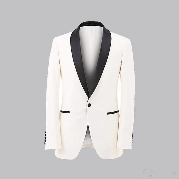 Custom MADE New White Jacket With Black Satin Lapel Groom Tuxedos Groomsmen Best Man Suit Men Wedding Suit(Jacket+Pants)