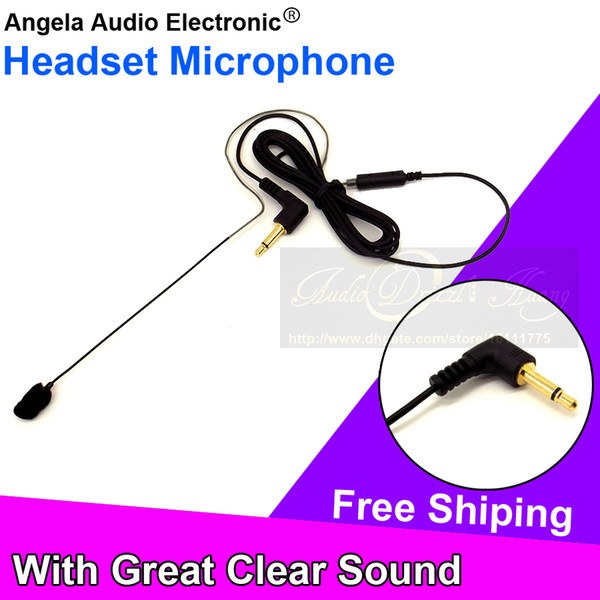 Free Shipping 3.5mm Male Plug Connector Single Earhook Headset Microphone Mic For Voice Amplifier FM Wireless BodyPack Transmitter