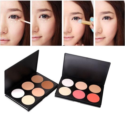 top popular 6 Color Pressed Powder Correcter Blusher Palette Highlight Pro Concealer Nature Long-lasting Cosmetic Makeup Beauty Tools 2019