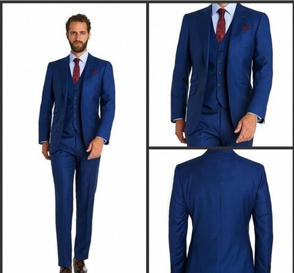 The Groom Suits Two Button Royal Blue wedding tuxedos Notch Lapel ...