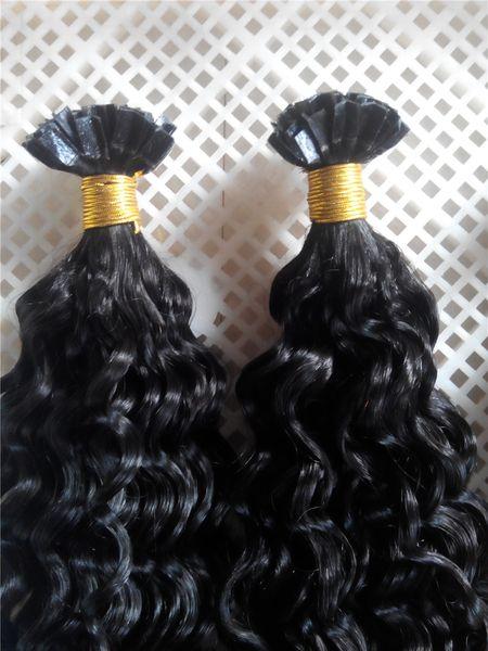 "14""-28"" Natural Black #1b 100g Deep CurlyHair V-tip Probonded Hair Extensions Brazilian Peruvian Indian Human V-tip Hair Extesnions"