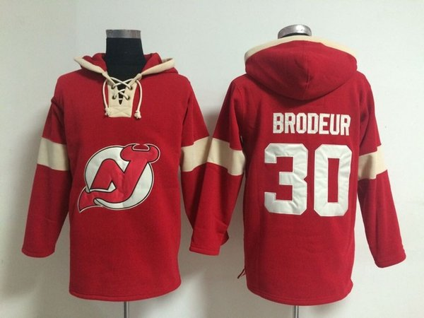 Youth Hockey Jersey Cheap, New Jersey Devils Hoodie #30 Martin Brodeur Kids 100% Stitched Embroidery Logos Hoodies Sweatshirts Red S-XL