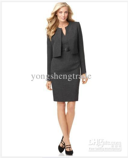 Womens Clothes Gray Women Dresses Cusotm Women Suit Long Sleeve Collarless Jacket & Belted Sheat Dress