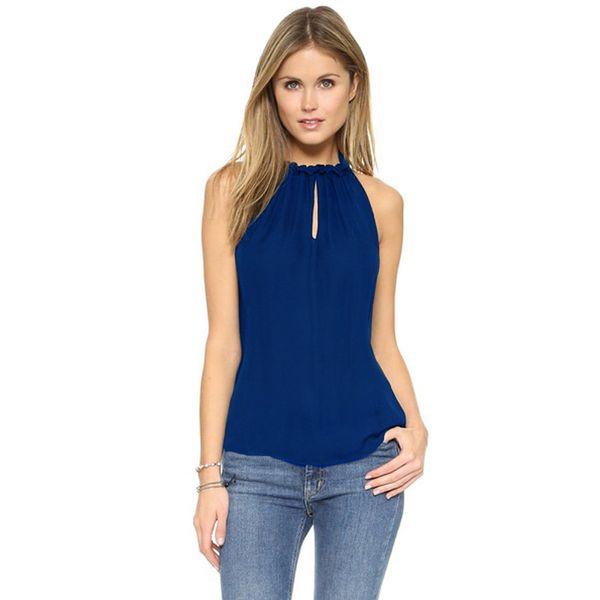 Tee-shirt femme 6XL en mousseline de soie taille haute (sans manches)