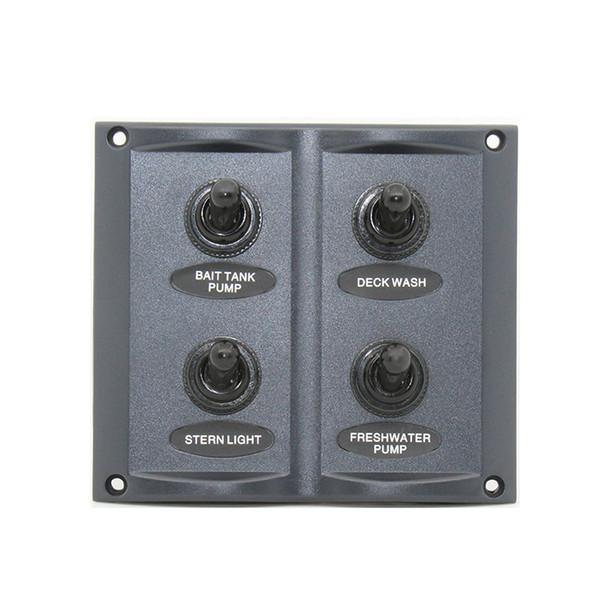 panel de interruptores de palanca a prueba de agua de 4 pandillas para automóvil con fusibles de cuchilla de 15A Barco marino RV