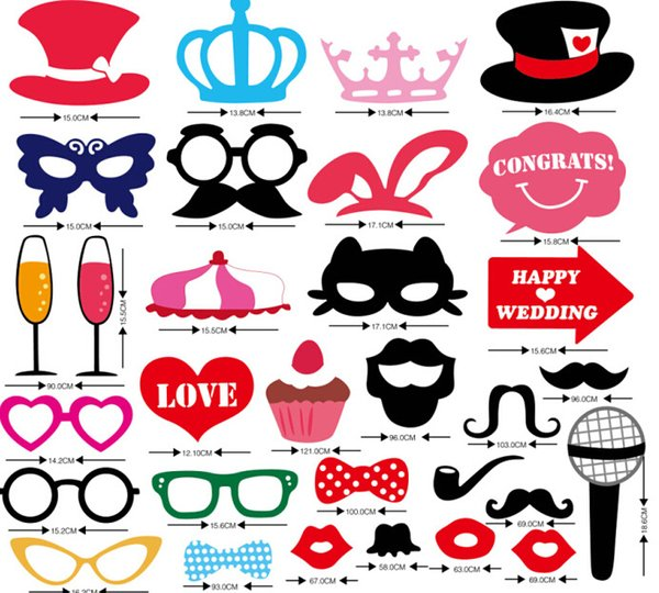 1set 31pcs new birthday party Photo Props Moustache Hat Small Eyes Paper Beard Wedding Party Supplies Bachelorette Party Photo Booth