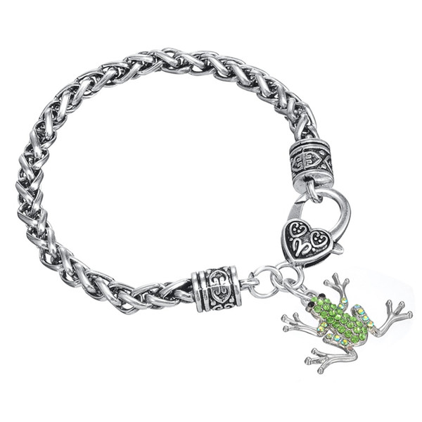 Free shipping Light Green Crystal Lucky Frog Charm Lobster Clasp Bracelet Heavy Chain Women 2016