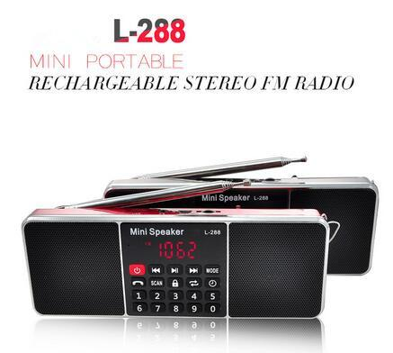 L-288 Mini Portable Rechargeable Stereo FM Radio Speaker LCD Screen Support TF Card USB Disk MP3 Music Player Loudspeaker retail