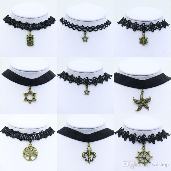 30 Styles Gothic Style Vintage Hollow-Out Flower Lace Collar Velvet Ribbon Neckband Bell Starfish Tattoo Statement Choker Necklace