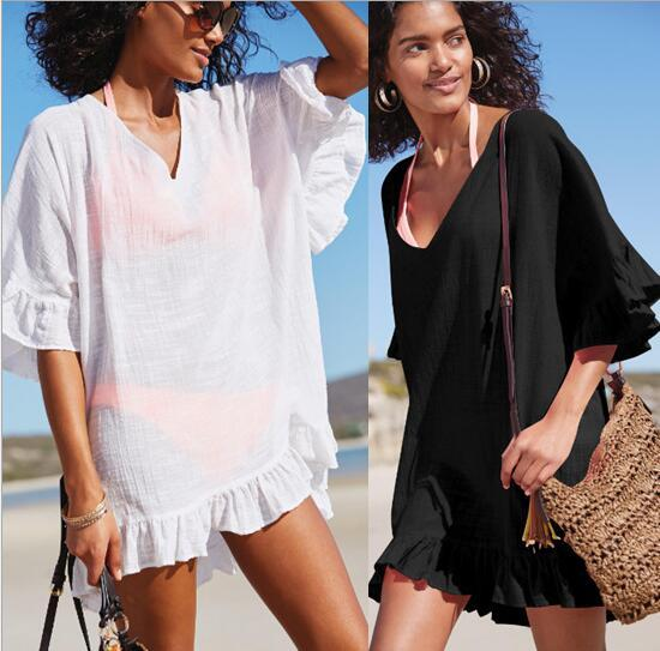 Beach bikini cover-ups summer women ruffles blouses seaside holiday bohemian swimming sunscreen shirts sexy sheer swimwear beachwear tops