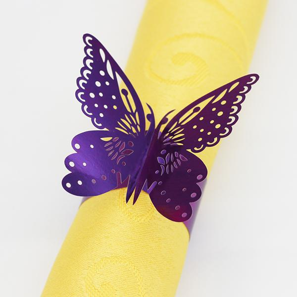 200PCS Butterfly Hollow out Paper Napkin Buckle Rings Laser Cut Paper Craft Serviette Holder for Wedding Party Hotel Banquet Table Decor