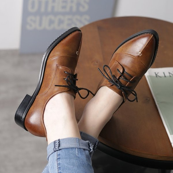 Spring & Autumn Fashion Women's Shoes Vintage Female Oxfords Preppy Style Platform Thick Heel Pointed Toe PU Leather Lace-Up Women's Flats