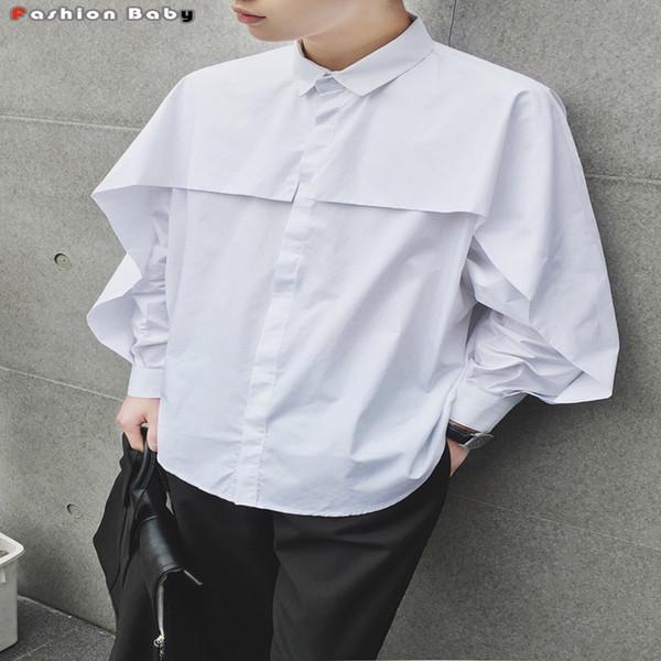 Wholesale- Men's Batwing Sleeve Loose Casual Shirt Fashion Flouncing Design Cotton Long Sleeve Autumn Winter Shirts Black White 2016 New