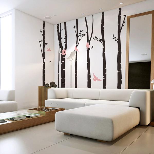 Venta al por mayor extra grandes pegatinas de pared del árbol decoración del hogar, gran árbol y aves de vinilo calcomanías de pared pegatinas para el hogar para baby nursery decor
