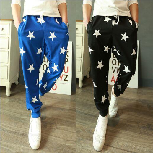 Pantalones para hombre cintura elástica estrellas estampadas de carga suelta Casual Harem Baggy Hip Hop Dance Pant Pant Pantalones estilo nuevo 2 colores M-XXL