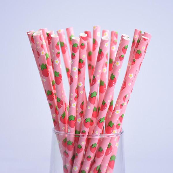 200pcs/lot Fruit Pineapple Strawberry Watermelon Design Paper Straws for Birthday Wedding Decorative Party Supplies Creative Drinking Straws