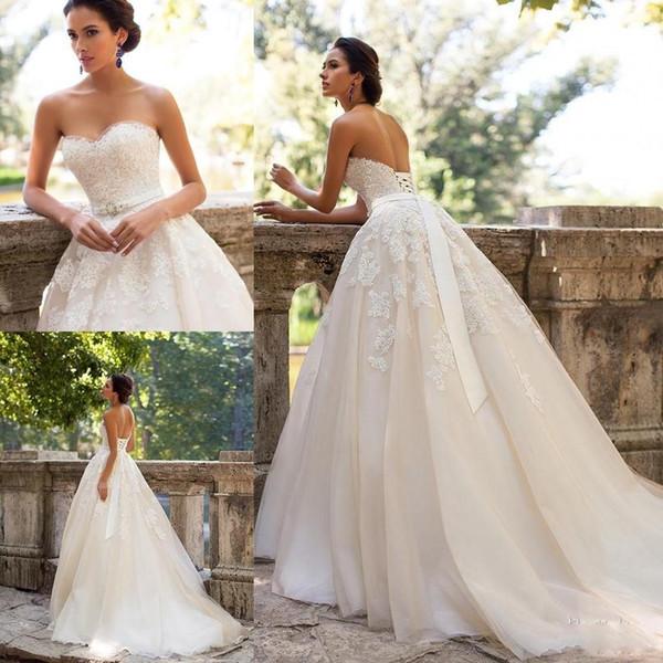 Discount 2017 Plus Size Lace Ball Gown Wedding Dresses Vintage ...