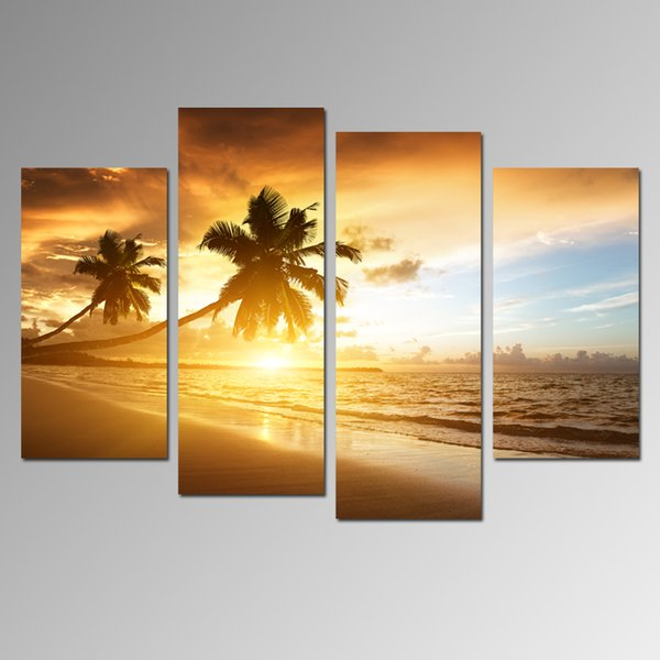 Modern Sunset Seascape Paintings Art On Canvas Coconut Tree On Beach Canvas Paintings Home Decoration Wall Hanging 4 Panels For Living Room