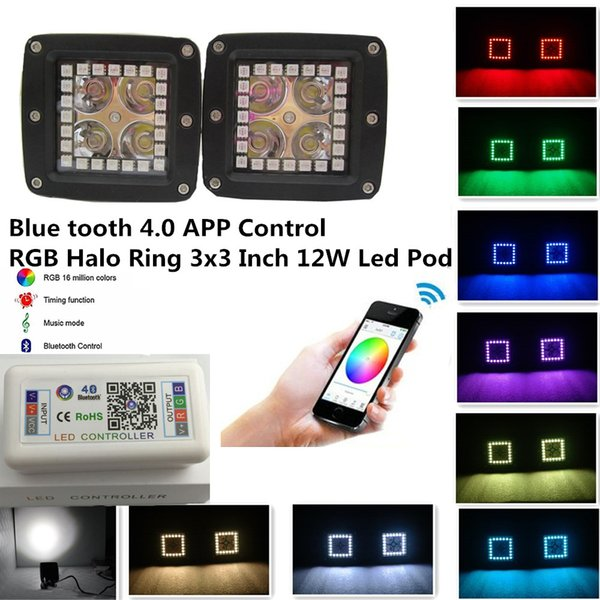 2 pcs 12W 3x3 Inch Smart Phone IOS & ANDROID Blue Tooth Control RGB Halo Ring Led Pods Many Flashing Modes and Color Changing Led Fog Light