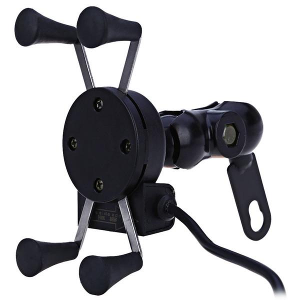 Supporto per auto da moto Presa X-Grip Presa per presa di corrente per caricabatterie USB da 12 V per iPhone 6/6 Plus GPS Samsung Supporto per telefono intelligente Sony HTC
