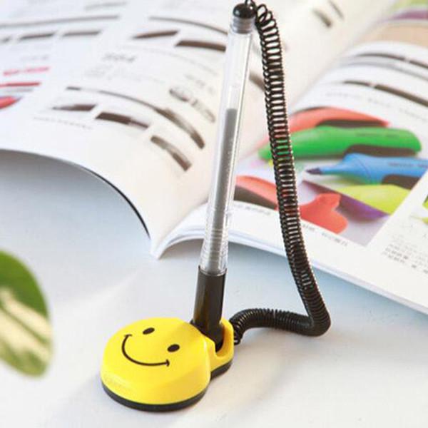 Novelty 8Pcs/lot 0.5mm Desktop Gel Pens 180 Degree Swivel Bracket Smile Face Desk Office Front Desk Counter Pen Pasted Signing Pen