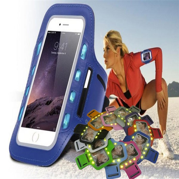 S7 edge wallet case Waterproof led night light Sports Running Armband Case Workout Holder Pounch Arm Bag Band shinny pouch case for iphone