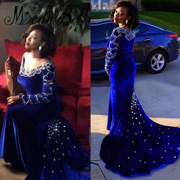 Rhinestone vestido de noche de manga larga Royal Blue Crystal abalorios terciopelo Robe De Soiree Longue Sexy sirena vestido de fiesta formal