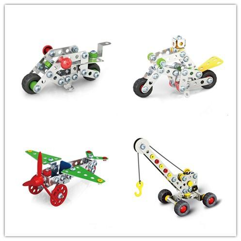 Boys Cool 3D Assembly Metal Engineering Vehicles Model Kits Toy Car Crane Motorcycle Truck Airplane Building Puzzles Construction Play Set