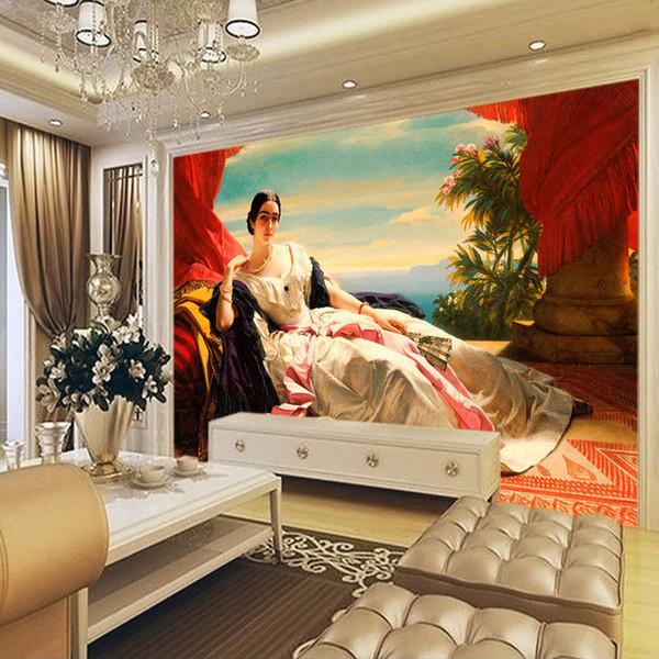 Acheter Peinture à L Huile Européenne Wallpaper 3d Custom Photo Papier Peint Portrait De Leonilla Peintures Murales Chambre à Coucher Salon Décoration