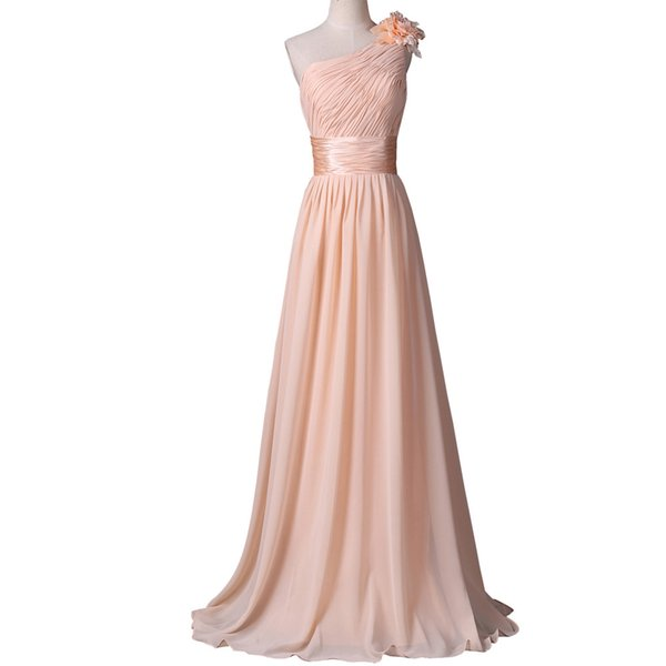 One Shoulder Prom Dresses Summer Style Evening Dresses 2019 Newest Apricot Flowers Dinner Dress Lace-up back Formal Gown Robe de soiree
