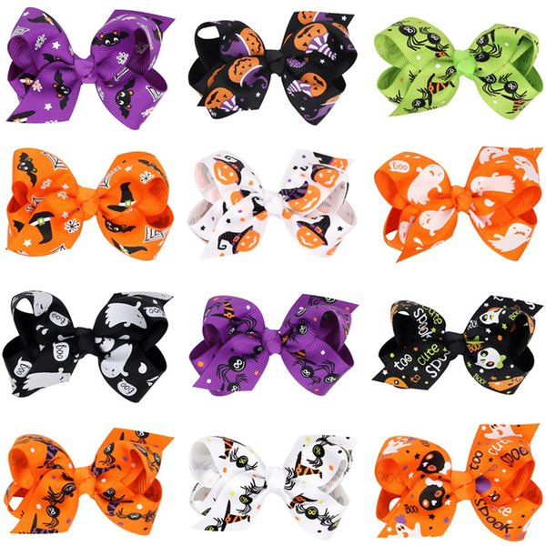 New Halloween Gifts Bowknot Headbands for Girls Sweet Kids Devil Pumpkin Hair Bows Children Tie Accessories Butterfly Girl Hair Band A5718