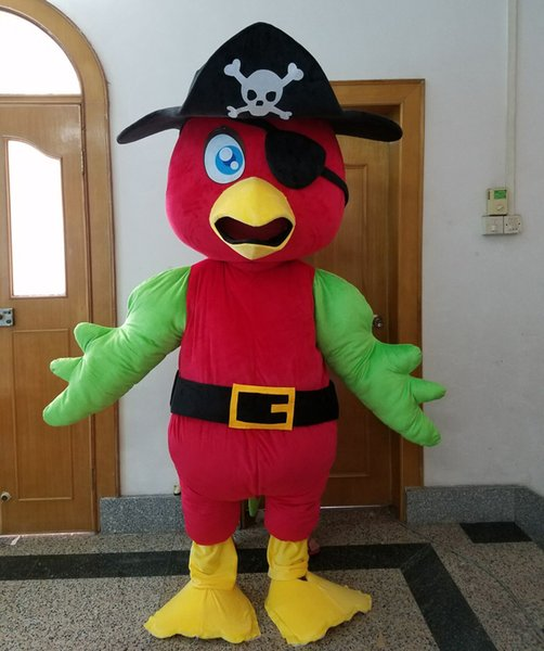SX0723 free shipping 100% real photo adult red parrot mascot costume with pirate hat