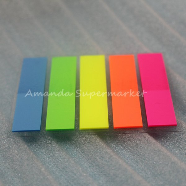 best selling 2000PC(20 sets) Fluorescent Rectangle Shape Sticker Bookmark Memo Sticky Notes