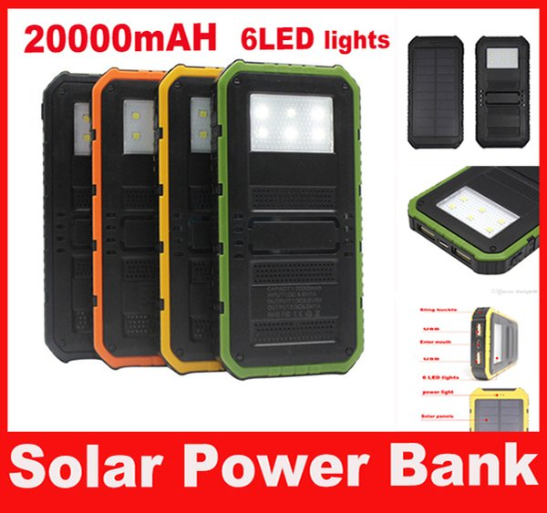 20000mAh Solar Powerbank Portable Waterproof Solar Six LED Camping Lights solar charger power bank with Retail Package free shipping