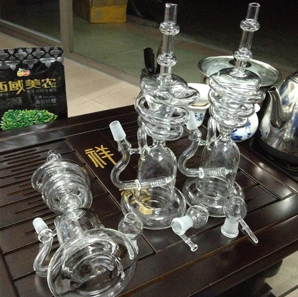 Cheap Bongs Water Pipes 18.8mm Joint Size Honeycomb Turbine Recycle Oil Rigs Thick Real Picture Glass Bongs Percolators Titanium Nail