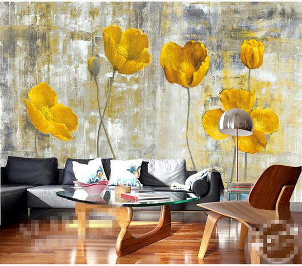 Acheter Fleur Jaune Papier Peint Peintures Murales Salon Chambre Mur Art Décor à La Maison Peinture Papier Peint 3d Floral Papier Peint De 21 36 Du