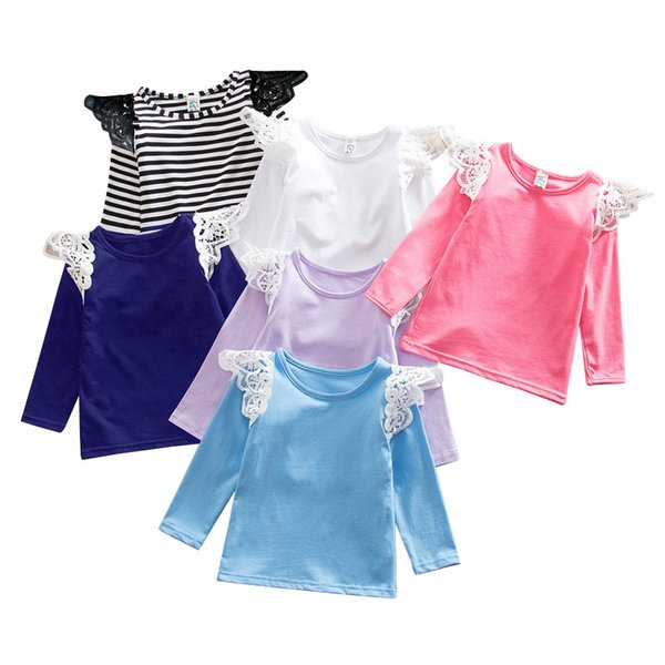 INS Babies T shirt 2016 Autumn new children cotton long sleeve Tshirt Kids lace fly sleeve princess tops Girls fall clothing in stock
