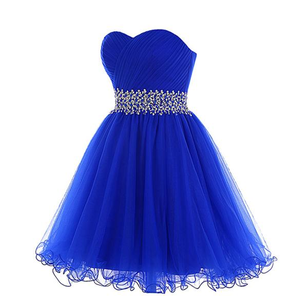High Quality Custom Made Homecoming Dress Royal Blue Short Prom Dresses Sweetheart Neck Ruched Tulle Crystals Beaded Waist Lace-up Back