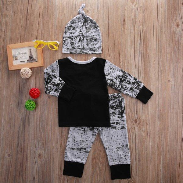 2016 baby boy girl 3PCS suits european style fashion shirt+hat+pants legging children boys outfits Sets infant cotton suit Newborn Clothes