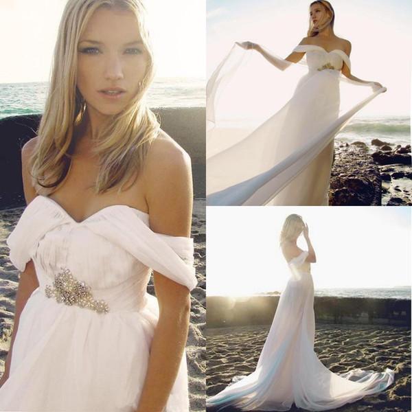 Discount Chiffon Long Beach Wedding Dresses A Line Off Shoulder ...