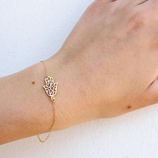 Kadınlar için Bilezikler 2016 Moda sıcak satmak Kız Kadınlar için Jewelrys Altın Gümüş Hamsa Bilezik Palmiye Bilezik Şekil bilezik