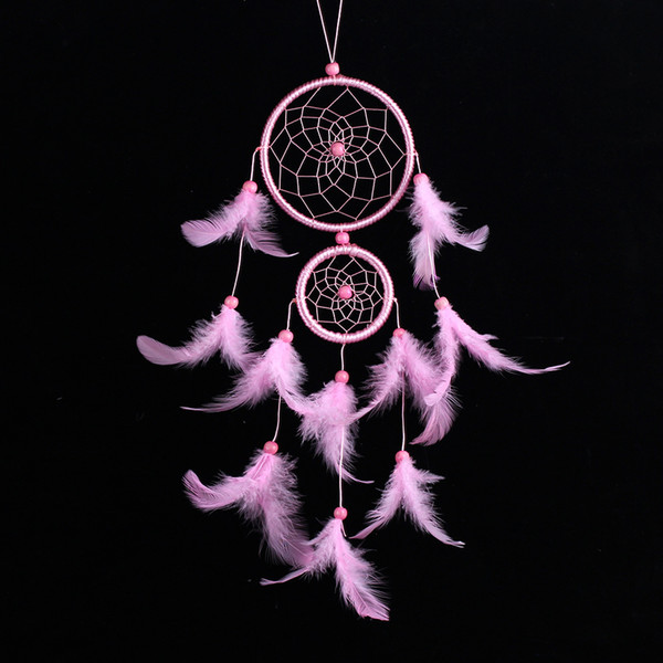 Dreamcatcher Wind Chimes Pink Feather Lace Dream Catcher Circular Windbell Handmade Hanging Decor Ornament Craft Gift 9 8lz F R