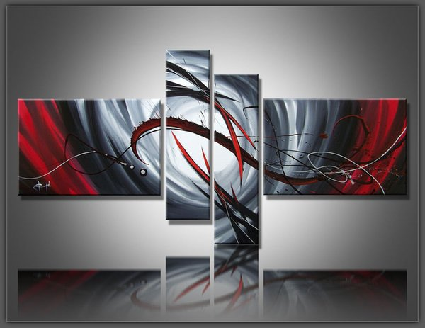 100% Hand painted Large Black White And Red Abstract oil painting Modern Art Wall Art Canvas High quality Home Office Hotel Decoration Abs86